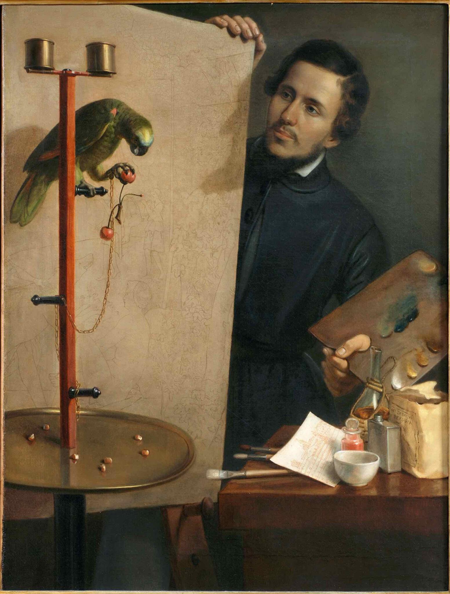 Mariano Guardabassi, Autoritratto col pappagallo